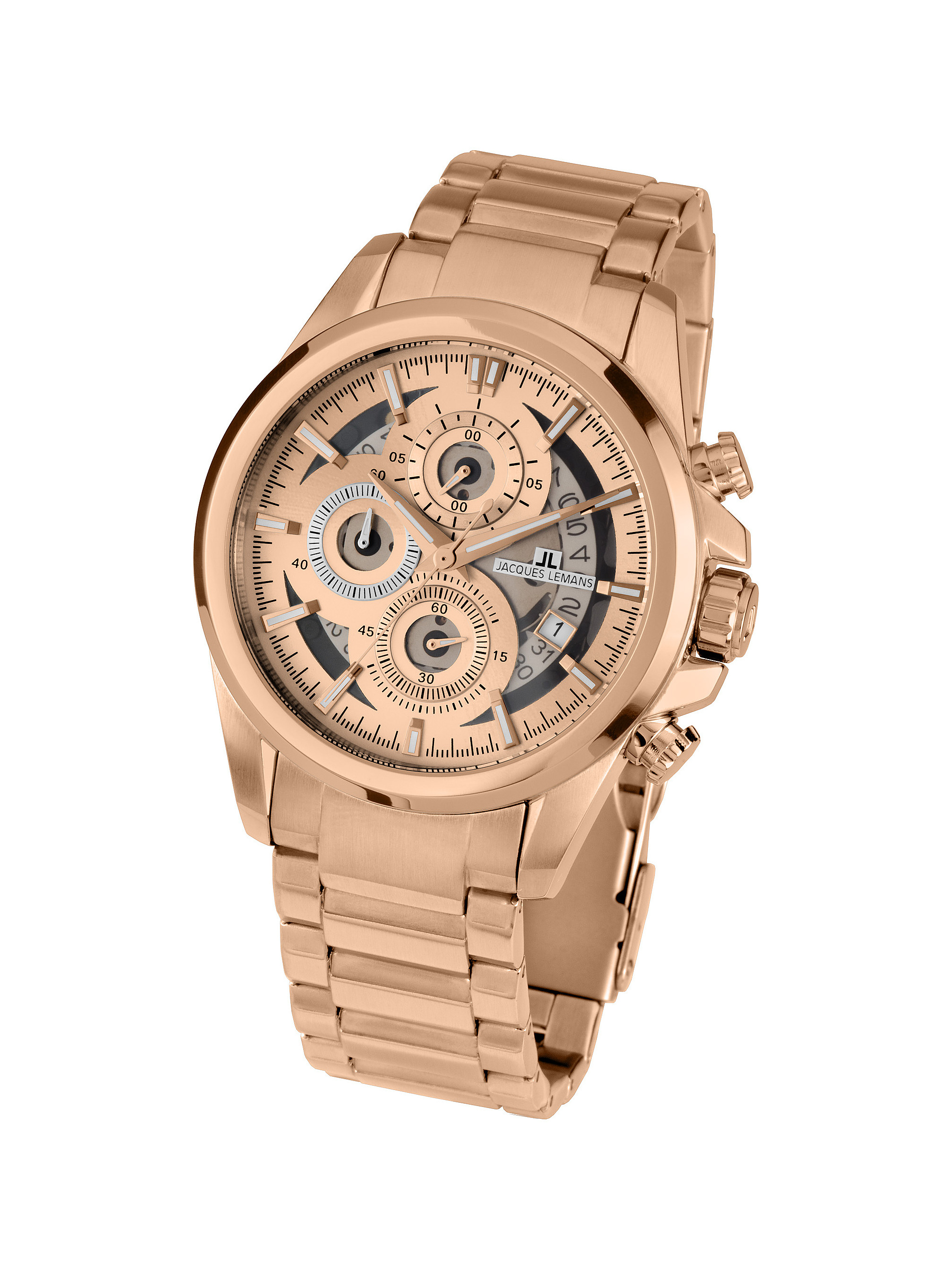 ac2c5b3ab7d02a Jacques Lemans Liverpool 1-1847G Ion Plated Stainless Steel  Rose Gold  Steel Bracelet Mineral Men s Watch