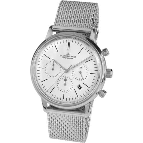 ae36e741 Jacques Lemans Men's Retro Classic Chronograph Watch With 24 Hour Sub-Dial  And Mesh Bracelet N-209ZG